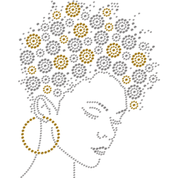 Rhinestone Afro Girl Heat Transfer For Clothes