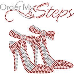 Order My Steps Red High Heeled Shoes Rhinestone Transfer