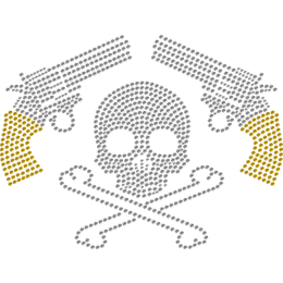 Skull And Guns Metal Rhinestud Transfer