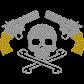 Skull And Guns Metal Rhinestud Transfer