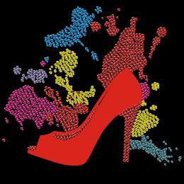 Red High Heel With Splash Effect Flock And Rhinestone Transfer