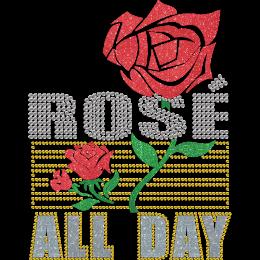 Rose All Day Glitter Plus Rhinestone Bling Transfer