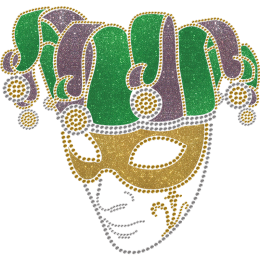 Happy Mardi Gras Mask Bling Transfer For Clothes