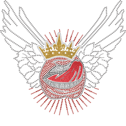 Punk Style Big Mouth With Wings Rhinestone Transfer