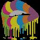 Rainbow Lips Neon Rhinestud Transfer For Shirts