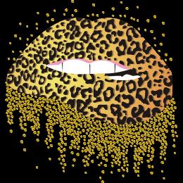 Leopard Printed Lips Heat Transfer