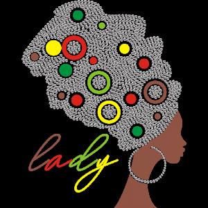 Afro Lady In Rhinestone Heat Press Transfer