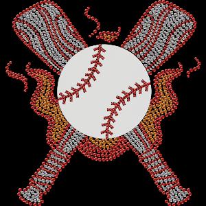 Heated Baseball Theme Rhinestone Transfer