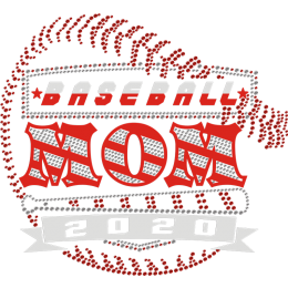 Baseball Mom 2020 Red Fashion Rhinestone Transfer