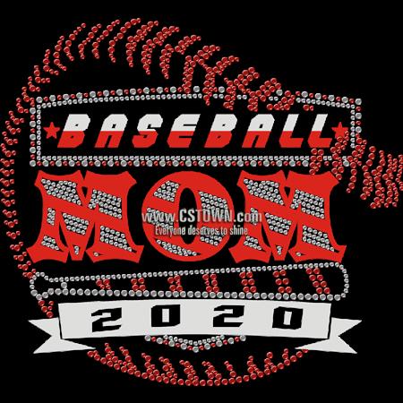 Baseball Mom 2020 Red Fashion Rhinestone Transfer