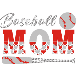 Baseball Mom Flock Rhinestone Transfer