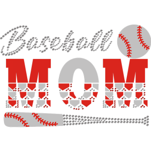 Baseball Mom Flock Rhinestone Transfer