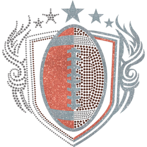 Football Badge In Glitter And Nailhead Transfer