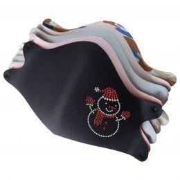 Mask with Lovely Snowman Hotfix Rhinestone Transfer