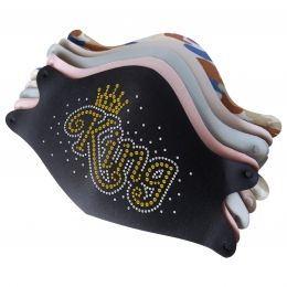 Mask with Shining Gold King Rhinestone Heat Transfer