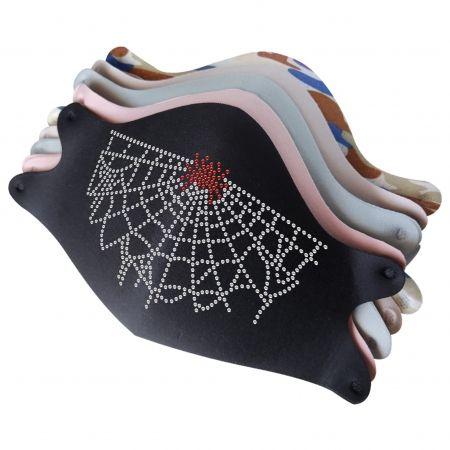 Mask with Spider Web Rhinestone Iron On Transfer