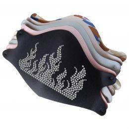 Mask with Fire Rhinestone Hotfix Rhinestone Iron On Motif