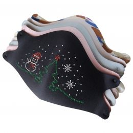 Mask with Cute Christmas Snowman Rhinestone Iron On Decals