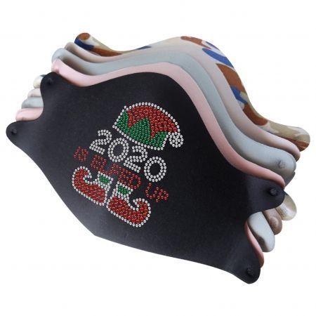 Mask with Christmas Elf Rhinestone Iron On Stickers
