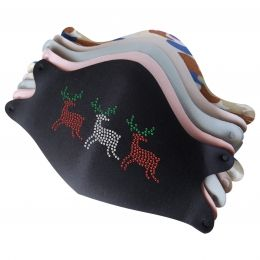 Mask with Christmas Reindeer Rhinestone Heat Transfer