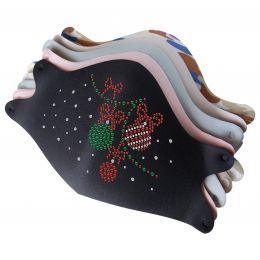 Mask with Christmas Decoration Rhinestone Iron On Applique