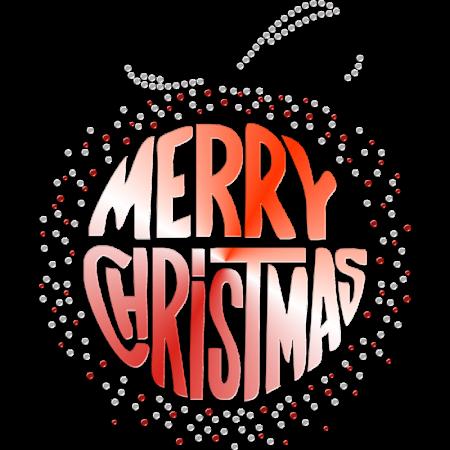 Bling Merry Christmas Printable PU Heat Transfer