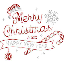 Merry Christmas Rhinestone & Happy New Year Heat Transfer