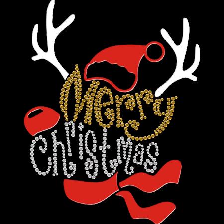 Creative Merry Christmas Printable PU and Rhinestone Iron-on Transfer