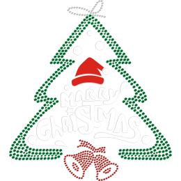 Beautiful Christmas Tree Flock and Rhinestone Heat Transfer