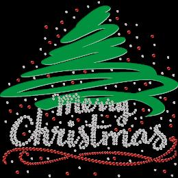Green Merry Christmas Flock and Rhinestone Iron-on