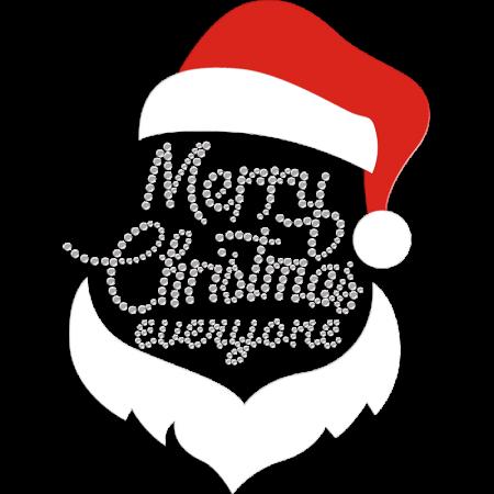 Santa Claus & Merry Christmas Everyone Flock Iron-on Transfer