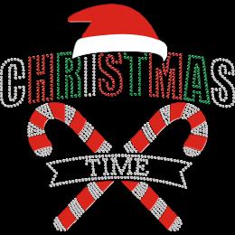 Christmas Time Flock & Rhinestone Iron-on Transfer