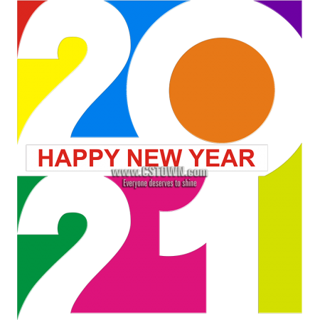 Colorful 2021 Happy New Year Printable PU Iron On Stickers