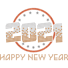 Shining Orange 2021 Happy New Year Iron On Stickers