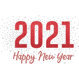 Happy New Year 2021 Glittering Rhinestone Iron On
