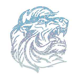 Bling Roaring Lion With Gradient Color Rhinestone Heat Transfer