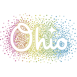 Colorful Ohio Rainbow Neon Rhinestud Iron On Decals