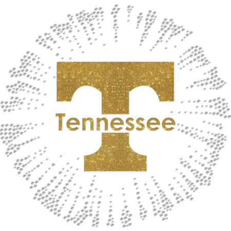 Golden Glittering Tennessee Rhinestone Heat Transfer
