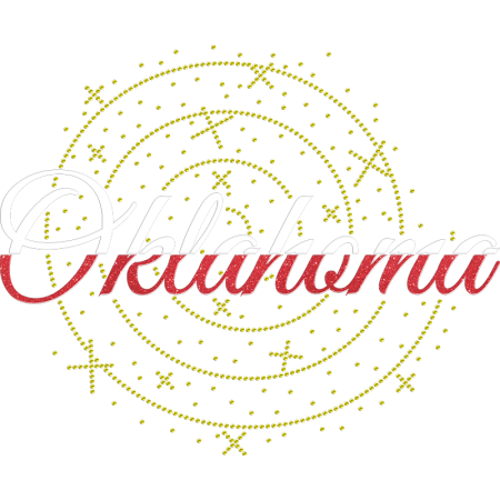 Glittering Personalized Oklahoma Rhinestone Heat Transfers for Shirts