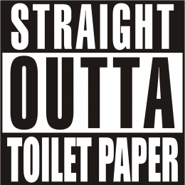 Straight out of Toilet Paper Motif Hot-Fix Transfer for Clothing