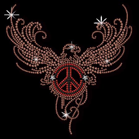 Eagle and Peace Rhinestone & Nailhead Pattern