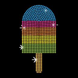Iridescent Ice Cream Neon Rhinestud Heat Transfer