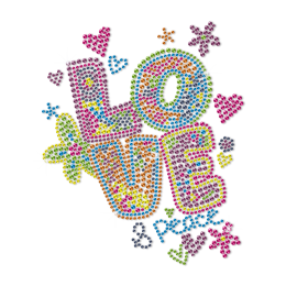 Love and Peace Colorful Fantasy Neon Stud Heat Transfer
