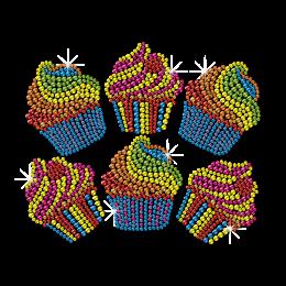 Cute Tasty Cupcake Motifs Neon Stud Transfer