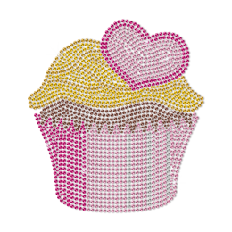 Pink Cupcake Decorated with Heart Rhinestud Transfer