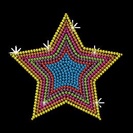 Wholesale Colorful Star Motif Neon Stud Heat Transfer