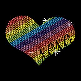 Love Love Rainbow Heart Custom Neon Rhinestone Motif