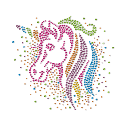 Fancy Unicorn in Dream Bling Colorful Rhinestone Heat Transfer