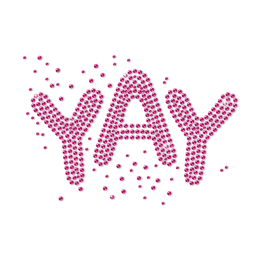 YAY Pink Letters Rhinestud Transfer