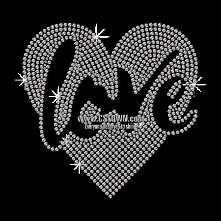 Bling Love in My Heart Rhinestud Heat Transfer